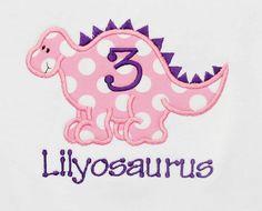 Girl's Dinosaur Birthday Shirt Dinosaur Birthday by bowdaciousbaby