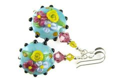 Turquoise Dangle Earrings, Colorful Glass Bead Earrings, Flower Lampwork Earrings, Beadwork Earrings, Lampwork Jewelry