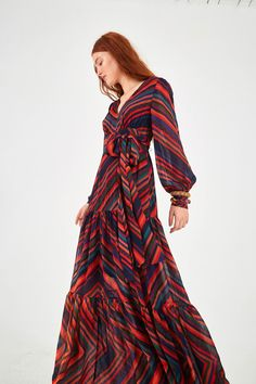 SUNSET STRIPE MAXI DRESS – Farm Rio Farm Rio, Tiered Skirts, Striped Maxi Dresses, Pump Shoes, Long Sleeve, High Neck Dress, Dresses With Sleeves, Model, How To Wear