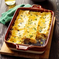 My mom made this lasagna for special occasions, such as birthdays. When she passed, I inherited her cookbooks—tucked inside one of them, I found this recipe folded into a letter she wrote to me while I was stationed overseas. It's a hearty, rich dish that reminds me of home. —Janet Wing, Minot, North Dakota