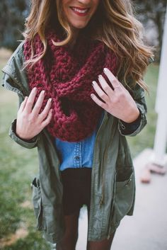 #thanksgiving #outfits Purple Scarf // Denim Skirt // Army Jacket // Black Jeans