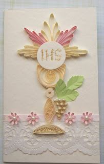Comunhão cartões Quillingowe Origami And Quilling, Paper Quilling Designs, Quilling Paper Craft, Paper Crafts, First Communion Decorations, First Communion Cards, Free Quilling Patterns, Embossed Cards, Bible Crafts