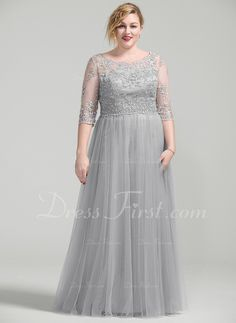 A-Line/Princess Scoop Neck Floor-Length Beading Appliques Lace Sequins Zipper Up Sleeves 3/4 Sleeves No Silver Plus Height:5.5ft Bust:41.5in Waist:34in Hips:44in US 12 / UK 16 / EU 42 Mother of the Bride Dress
