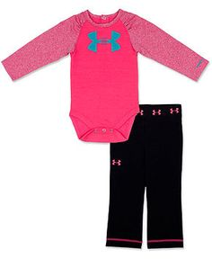 Under Armour Baby Set, Baby Girls 2-Piece Long-Sleeved Logo Bodysuit and Pants - Kids Baby Girl (0-24 months) - Macy's