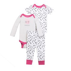 Baby Girl Bodysuit & Pant 3pc Outfit Set for under $10