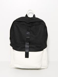 combo leather backpack white/black