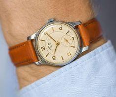 Retro men's watch Pobeda. Mid century men wristwatch