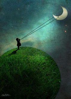 Chasing The Moon als Premium poster door Catrin Welz-Stein | JUNIQE
