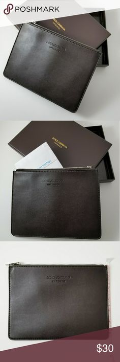 """Dolce & Gabbana Intenso Pouch Dolce & Gabbana Intenso Pouch document holder with inside zip pocket. Can be used as a make-up case, travel jewelry case or anything you can dream up. Dolce & Gabbana Intenso Document holder / Pouch 9in x 6.25in  *NEW! Come in logo gift box.  *Price is Firm *  *Please take note of measurements in pictures.   *manufacturers description states """"document holder"""" but documents will have to be folded as depicted in photo to be accommodated.   *appropriate for…"""