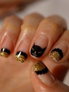 ☆ブラック&ゴールドな新春にゃんこちゃんネイル☆の画像 | パリのネイルサロン Bijoux nails Paris