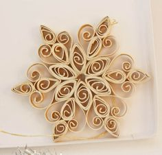 Quilled snowflake Christmas ornament - pearly gold- with decorated gift box Snowflake Ornaments, Christmas Snowflakes, Christmas Ornaments, Xmas, Christmas Earrings, Christmas Tree, Quilling Patterns, Quilling Designs, Quilling Christmas