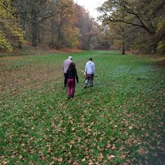 Out with friends, walking the dog in Tervuren, Belgium.