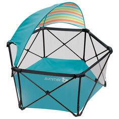 $100 ght and compact fold playard can be set up and taken down in seconds, making it perfect for use at home, a day at the park, or a weekend at the beach. A removable sun canopy provides protection from harmful rays, and the water resistant floor helps keep baby dry even on damp grass. Airy mesh sides provide added visibility. A travel bag with should...