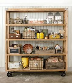 Here's an organizing tip: use a wooden rolling cart to stash gardening supplies, tools, decorations, and outdoor picnic materials :)