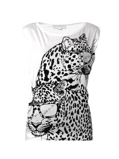 Flocked Pantha-print T-shirt | Stella McCartney | MATCHESFASHI...