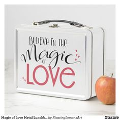 Magic of Love Metal Lunchbox - kitchen gifts diy ideas decor special unique individual customized Love Gifts, Unique Gifts, Metal Lunch Box, Flask, Magic, Lunch Boxes, Kitchen Gifts, Typography Art, Diy Ideas
