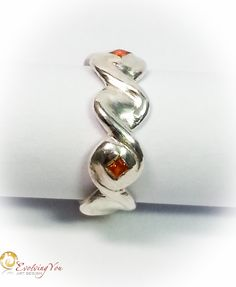 Woven Lines Ring with Orange Zirconia Stones