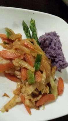 Day 11- dinner Thai curry base w/sautéed vegetables.  Asparagus.  Coconut cream okinawa sweet potato mash. YUM!
