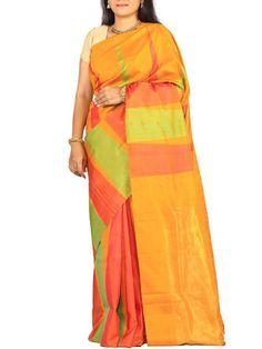 Details: Multicolor Uppada Silk Saree with Big Temple Design. Shop at www.ethnicroom.com