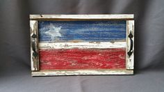 Barn wood Serving Tray table tray Red White by TheWhiteBirchStudio