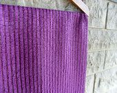 purple table runner with shiny stripes
