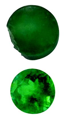 This emerald was re-polished to remove the unsightly chip from the side.