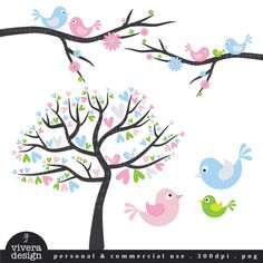 Digital Clip Art - Love Birds in Blue, Pink, Green, and Silver - with little baby bird. $5.50, via Etsy.