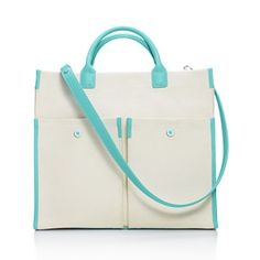 Tiffany & Co. | Item | Jitney tote in natural canvas and Tiffany Blue® grain leather. | United States   so cute!