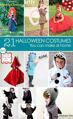 Oh this is just what I've been looking for - really simple Halloween costumes for kids that even I can make! Click on the image to see all the instructions.