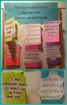 Interactive library bulletin board idea - pick your favorite first line then open to find your new favorite book!