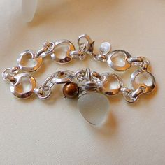 $85 Sea Glass Bracelet-Wire Wrapped Frosty Wite and Genuine Grade AAA Gem Quality Chocolate Pearl FWP (930,925)