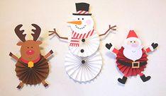 スノーマンペーパファン クリスマスパーティーの飾り付け クリスマスツリー サンタのペーパーファン