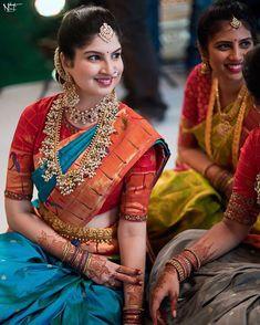 Pattu Saree Blouse Designs, Half Saree Designs, Fancy Blouse Designs, Bridal Blouse Designs, Bridal Sarees South Indian, Indian Bridal Outfits, Indian Bridal Fashion, Wedding Saree Collection, Saree Trends