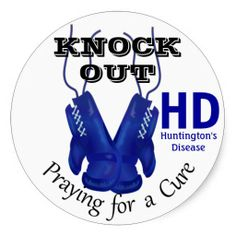 Knock Out Huntington's Disease HD Awareness Round Stickers