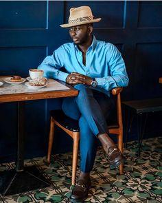 Blue Dress Pants, Sheer Socks, Handsome Black Men, Blue Long Sleeve Shirt, Dapper Men, Well Dressed Men, Me Time, Shirt Style, Men Casual