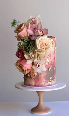 These Wedding Cakes are Incredibly Stunning - unique wedding cake designs, unique wedding cakes, pretty wedding cake, marble wedding cake ideas, - Pretty Wedding Cakes, Fall Wedding Cakes, Wedding Cakes With Cupcakes, Elegant Wedding Cakes, Elegant Cakes, Wedding Cake Designs, Pretty Cakes, Wedding Themes, Wedding Colors