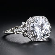 2.17 Carat 'D' Color Diamond Elegantly Mounted Engagement Ring | From a unique collection of vintage engagement rings at https://www.1stdibs.com/jewelry/rings/engagement-rings/
