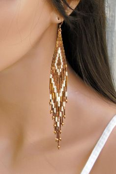 Extra Long Earrings in Copper and Cream - Extra Long Beaded Earrings - Seed Bead - Bugle Bead Earrings - Gypsy Boho Style - Fringe