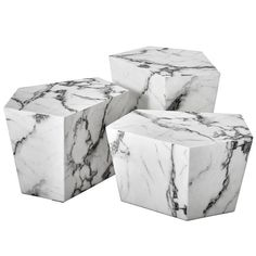 Prudente Set of Three Resin Marble Coffee Table | From a unique collection of antique and modern coffee and cocktail tables at https://www.1stdibs.com/furniture/tables/coffee-tables-cocktail-tables/