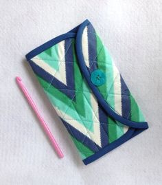 Crochet Hook Case  ikat navy blue, aqua and  emerald by thesewingmachine