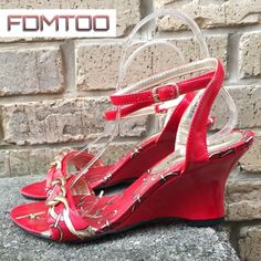 """✔️FDMTOO Satin Chain Print Wedges 6.5  Worn once. No box. Heels 2.7"""" Gold Hardware. Beautiful print. FDMTOO Shoes Wedges"""