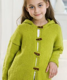 Free Knitting Pattern for Smoothie Hooded Jacket - Easy knitting pattern for Hoodie Sweater for sizes 18 months to 6 years.