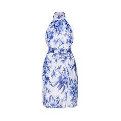 Fame&Partners Split Backless Blue Azalea Floral Joya Dress ($205) ❤ liked on Polyvore featuring dresses, gowns, blue azalea floral, splitbackless, blue evening gown, floral print bridesmaid dresses, blue floral dress, blue ball gown and floral gown