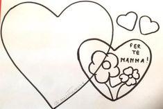 Un cuore per la festa della mamma da appendere . Come procedere per realizzare questo lavoretto per la mamma? Stampare la sagoma dei cuori Riportare la sagoma del cuore grande su cartoncino rosso e…