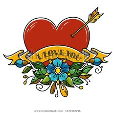 Tattoo Heart pierced with arrow. Heart decorated with flowers and ribbon. Illustration for Valentines Day. Heart Piercing, Happy Valentines Day Card, Down Syndrome Awareness, Heart Tattoo Designs, Arrow Tattoos, Graffiti, Whimsical, Royalty Free Stock Photos, Symbols