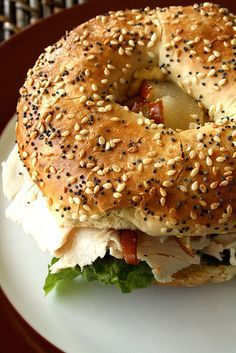 Everything Bagel with Turkey, Pear Brie these are so good I have had them at…