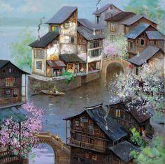 Double Bridge Town by Zhen Zhong Duan