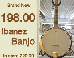 Ibanez Banjo for 198.00. In store 229.99. Call 618-244-0291 for payment & shipping options or come see Tiffany & let her know you saw it here