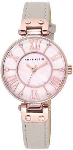 ANNE KLEIN Ladies Rose Goldtone Watch with Taupe Strap