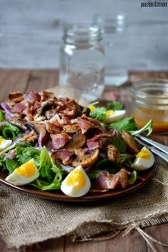 Peaches & Cream: Bacon, Eggs, Mushroom & Mixed Green Salad with a Warm Bacon Dressing